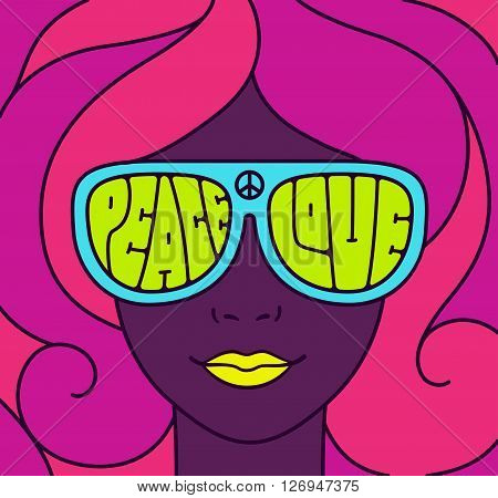 Hippie Love and Peace poster. Retro style typography pretty girl in neon colors. Groovy vintage illustration.
