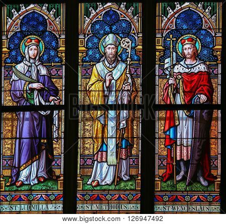 Stained Glass - Saints Ludmilla, Methodius And Wenceslas