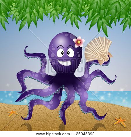 an illustration of Octopus with fan on the beach