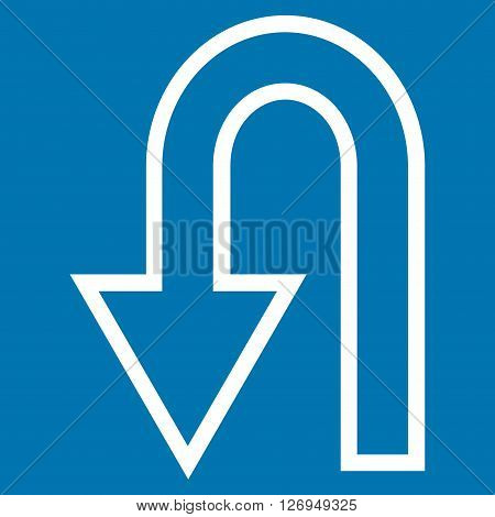 Turn Back vector icon. Style is thin line icon symbol, white color, blue background.