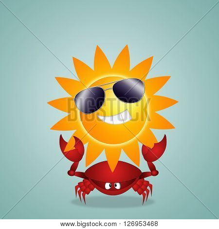 an illustration of Funny crab with sign