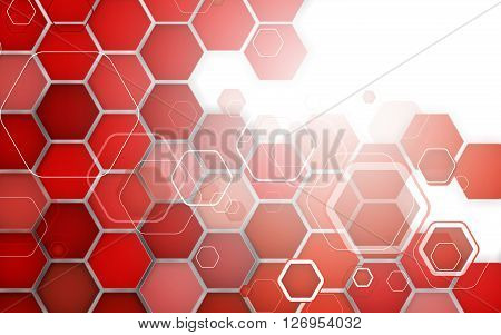 Abstract Red Background Hexagon. Vector Illustration