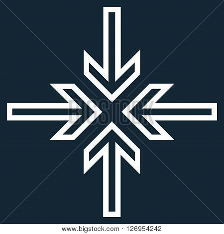 Implode Arrows vector icon. Style is thin line icon symbol, white color, dark blue background.