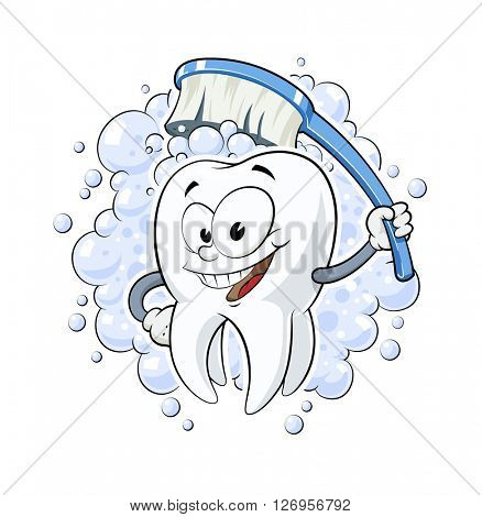 Healthy tooth with dental brush vector illustration. Isolated white background. Teeth cleaning. health. Smiling cartoon tooth. clean cosmetics medicine