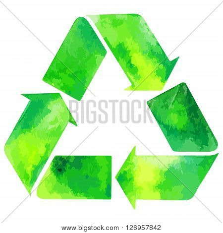 Watercolor green recycle sign. Recycle icon green vector. Recycle icon eps watercolor file.