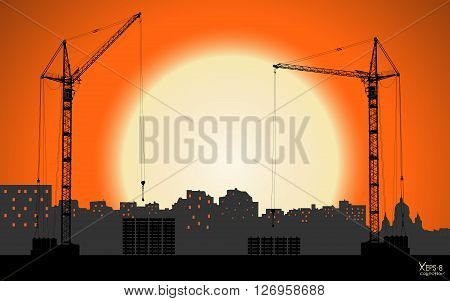 High detailed vector hoisting cranes building the town on sunset background. Vector illustration