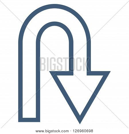 U Turn vector icon. Style is thin line icon symbol, blue color, white background.