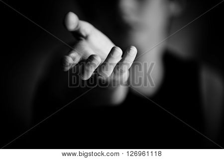 Hand Reaching Out In Black And White