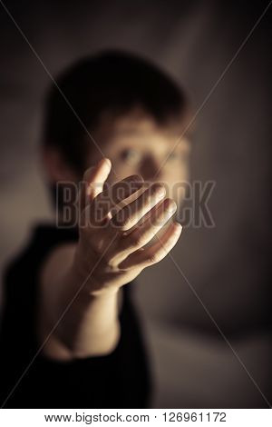 Obscured Person With Beckoning Gesture