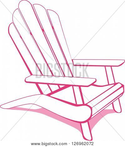 Beach chair. White and Pink vector illustration.