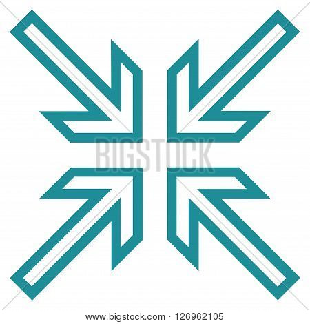 Implode Arrows vector icon. Style is outline icon symbol, soft blue color, white background.
