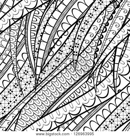 Tracery Calming Pattern. Mehendi Design. Neat Even Binary Harmonious Doodle Texture. Silt Algae, Sea