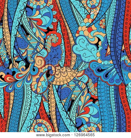 Tracery Seamless Calming Pattern. Mehendi Design. Neat Even Colorful Blue Harmonious Doodle Texture.