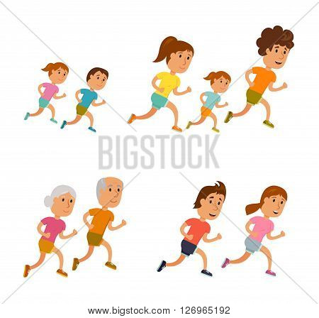 Run family, old couple and child. Healthy lifestyle illustration. Woman's, man and child jogging. Runners people. Activity and sport. Fitness concept. Runners family: mom, dad and children run.