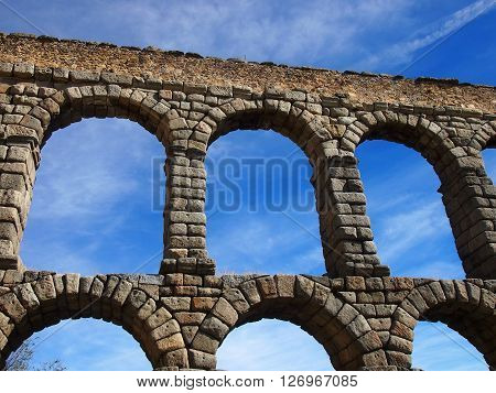 Close-up of Roman Aquaduct and the arches in Segovia Spain