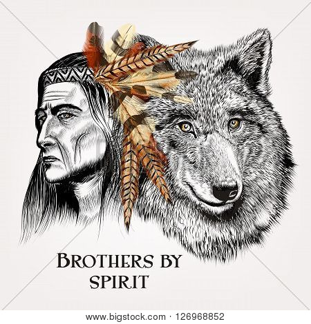 Beautiful high detailed hand draw wolf with Indian in realistic vector in engraved style brothers by spirit
