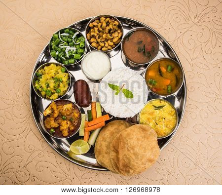 Group of Indian Food or Indian Thali, south indian thali, south indian complete meal, south indian complete lunch, indian food platter or indian food thali