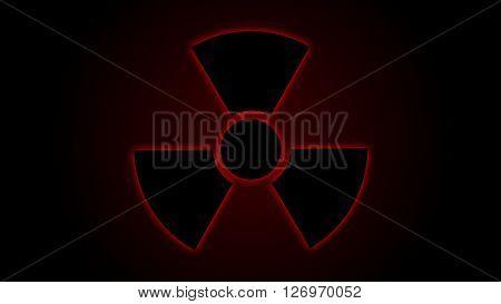 Vector illustration Radiation danger symbol red, background