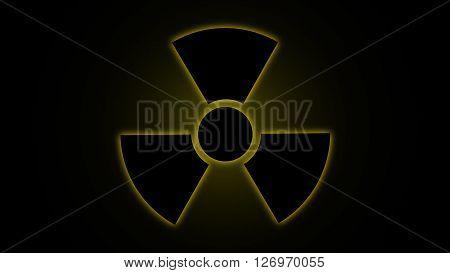 Vector illustration Radiation danger symbol yellow, background