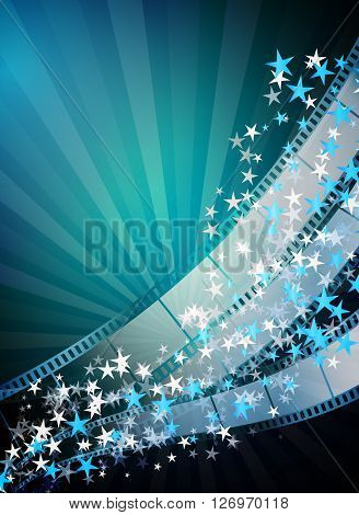 Cinema vertical abstract background with film strips flying stars rays. Vector design template