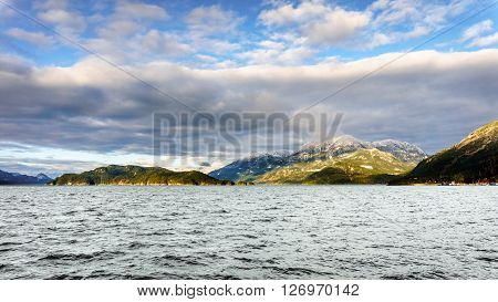 harrison lake with echo island in the fraser valley of british columbia