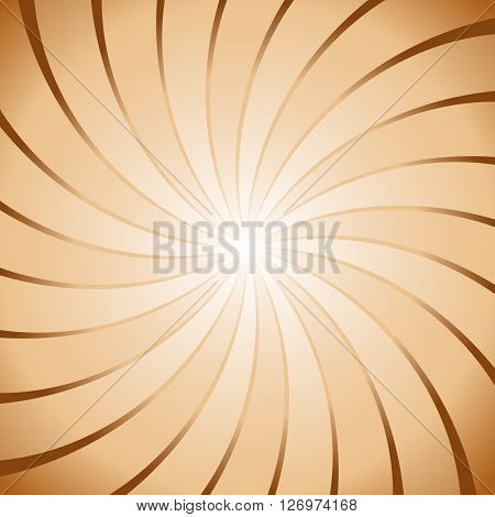 Abstract brown ray twirl background, stock vector