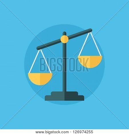 Scales sign. Balance icon. Flat design vector illustration.