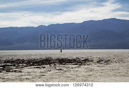 Bad Water Basine in Death Valley (California) - walking man