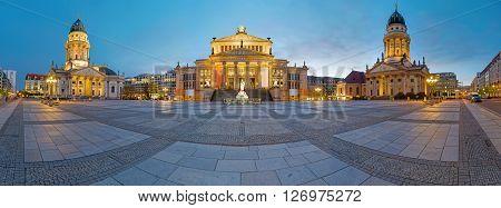 Panorama of the Gendarmenmarkt in Berlin at dawn