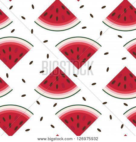 Vector seamless pattern with fresh ripe watermelon. Watermelon vector illustration. Summer concept. Watermelon Slice and Watermelon seeds