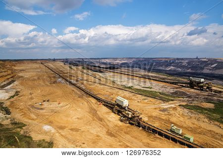 Garzweiler, Germany, april 16, 2016:the big hole lignite (brown coal) strip mining Garzweiler Germany a large surface mine for power generation with significant impact on the environment