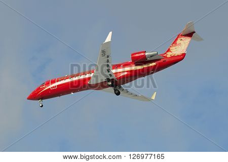 SAINT PETERSBURG, RUSSIA - FEBRUARY 17, 2016: Aircraft Bombardier CRJ-200ER CRJ-200ER (VQ-BFI ) airlines Rusline on approach to Pulkovo airport