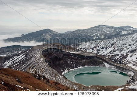 Mount Zao and natural crater lake in winter, Yamakata, Japan