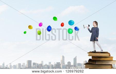 Kid girl making announcement