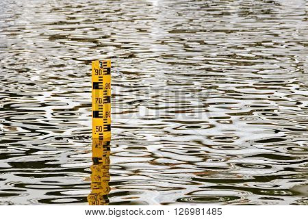 Water Level Staff Gauge measuring the depth of water