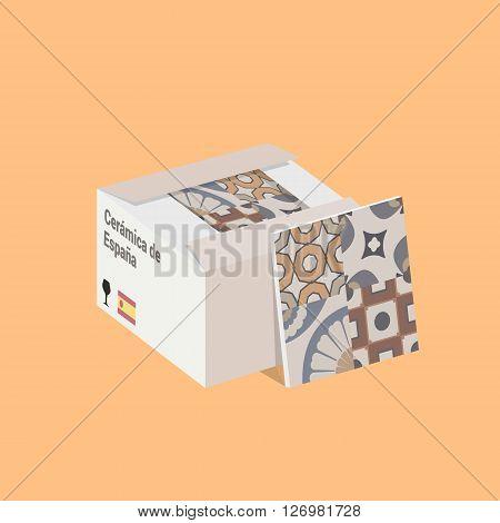 Vector Flat Illustration of the Spanish Ceramic Tile in Box.