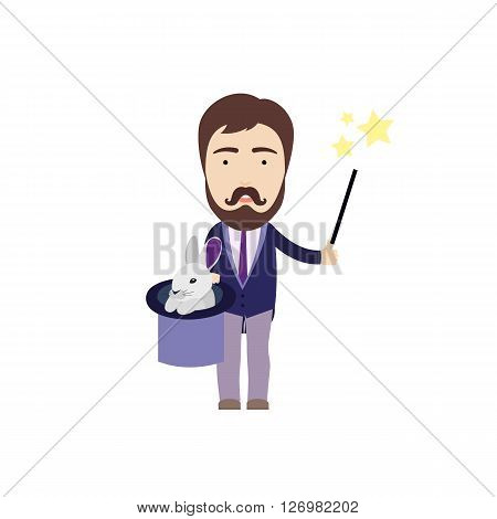 Vector Flat Illustration of Magician with Rabbit