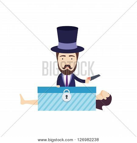 Vector Flat Illustration of Magician with Saw Standing Behind the Woman in a Box.