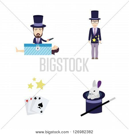 Set of Vector Flat Illustrations on a Theme of Magic. Includes Rabbit in Hat, Cards, Magician with Saw, Woman in Box and Magician with Magic Stick.