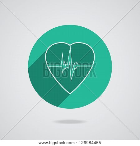 Defibrillator white heart icon isolated on green background  illustration