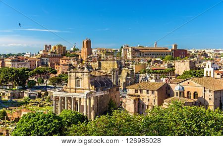 View of the Temple of Antoninus and Faustina in the Roman Forum - Italy