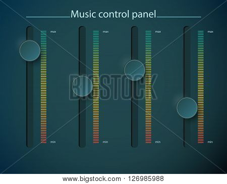 Realistic green metal control panel tumbler. Music audio sound volume knob button minimum maximum level. Rotate switch interface stereo tuner. Design element illustration