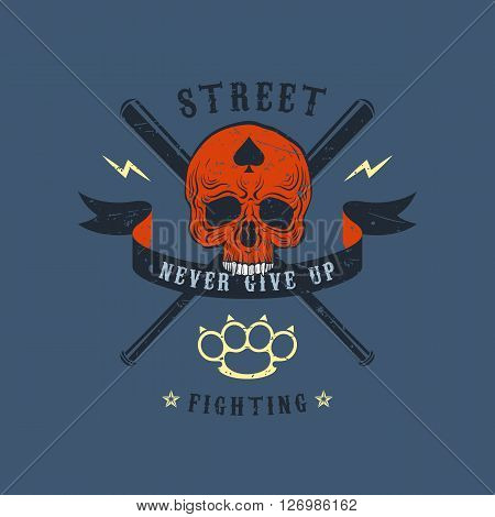 Colored vector illustration street fighting club emblem. The skull on a background with crossed baseball bats and brass knuckles. Ribbon with the inscription: Never give up.