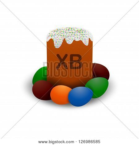 Vector orthodox Easter cake. Orthodox easter cake with Easter eggs and short word