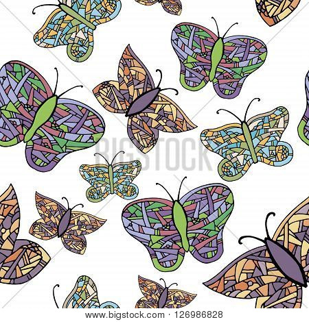 Collection of colorful butterflies. Hand drawn vector stock illustration. Seamless background pattern
