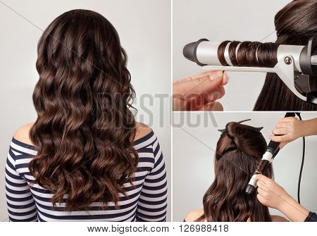 create curls process. long curly hairs. Hairstyle for long hair. Brunette girl with long curly healthy dark hair