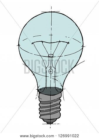 Lightbulb isolated icon. Hand drawn vector stock illustration