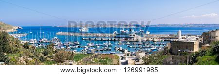 GOZO, MALTA - February 20, 2015. Port of Mgarr on the small island of Gozo, Malta. Panorama view.