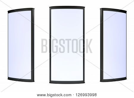 Three blank lightboxes on white background. 3d render