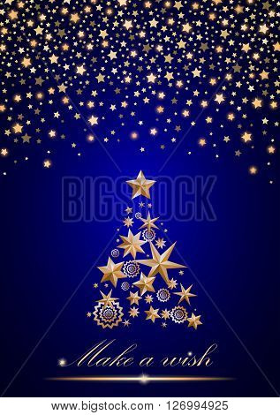 New Year and Christmas card design: gold Christmas Tree made of stars and snowflakes with abstract shining falling stars on blue ambient background. Vector illustration